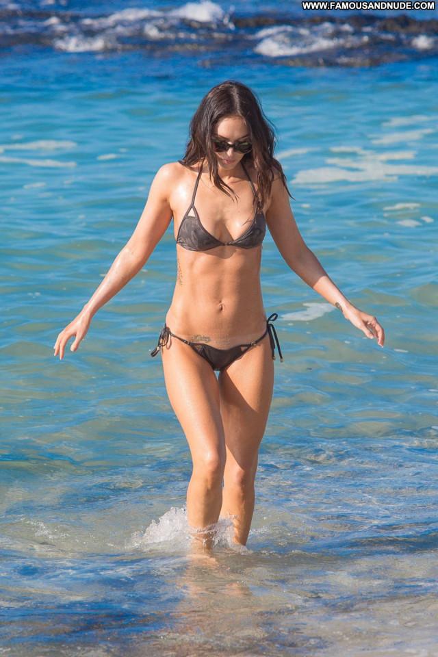 Megan Fox The Beach  Posing Hot Bikini Candids Beautiful Celebrity
