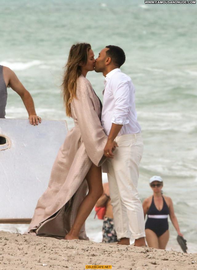 Chrissy Teigen Miami Beach  Toples Babe Posing Hot Beach Photoshoot